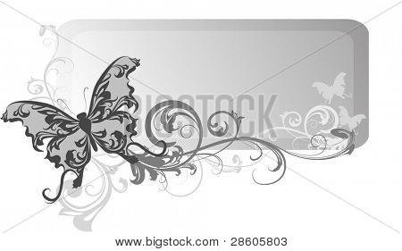 Grey vector banner with butterfly and elements of ornament