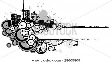 Grey vector banner with elements of buildings