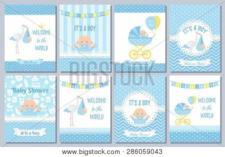 Baby Shower Card. Vector Baby Boy Design. Invite Banner. Cute Birth Party Background. Welcome Born T