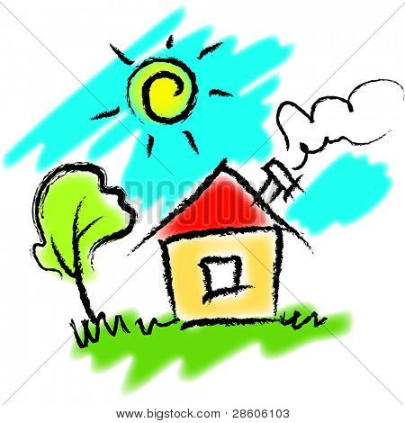 Bright vector illustration of home