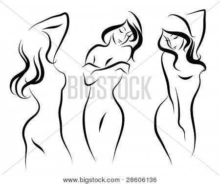 Three beautiful vector woman