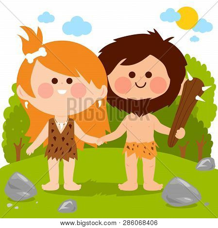 Prehistoric Landscape With Two Cavemen, A Man And A Woman Holding Hands. Vector Illustration
