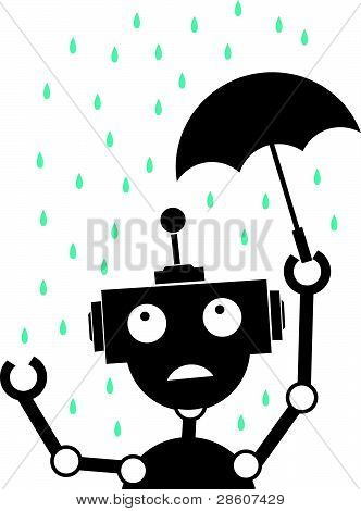 Unhappy Silhouette Robot in the rain holding Umbrella