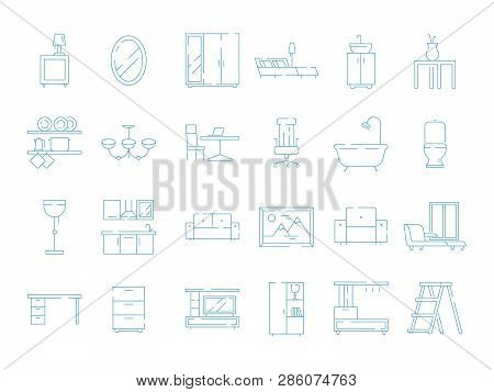 Room Furniture Icon. Bed Table Desk Chair Sofa Vector Thin Symbols Pictograms. Illustration Of Furni