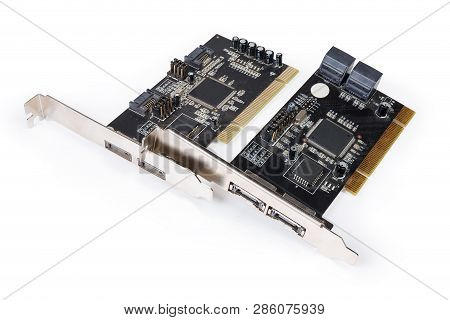 Two Different Used Disk Array Controller Internal Cards For Sata Hard Disk Drives And Pci Bus On A W