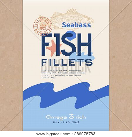 Fish Fillets. Abstract Vector Fish Packaging Design Or Label. Modern Typography, Hand Drawn Sea Bass