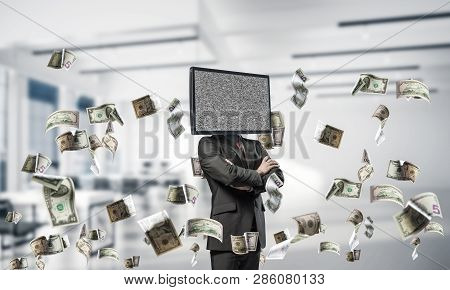 Cropped Image Of Businessman In Suit With Tv Instead Of Head Keeping Arms Crossed While Standing Amo