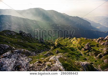 Panorama Of The Rocks. Mountains Bucegi, Romania. Summer Day.