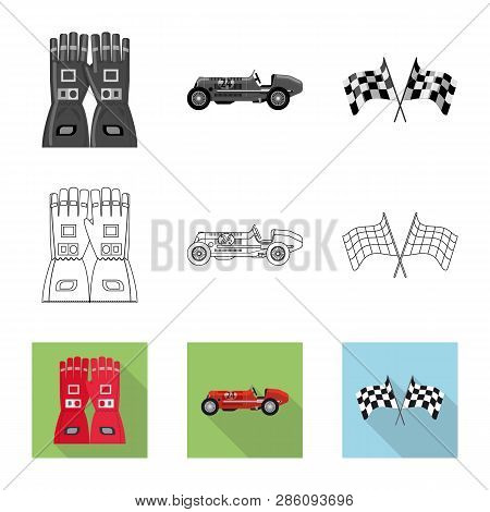 Isolated Object Of Car And Rally Symbol. Collection Of Car And Race Stock Symbol For Web.