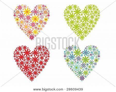 Cute flowered Hearts