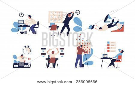 Bundle of people unable to organize their tasks and failing to fit them in schedule. Set of scenes with inefficient and ineffective time management and multitasking. Flat cartoon vector illustration. poster