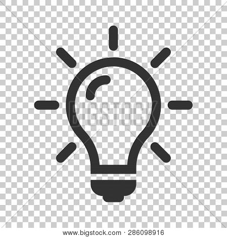 Light Bulb Icon In Flat Style. Lightbulb Vector Illustration On Isolated Background. Lamp Idea Busin
