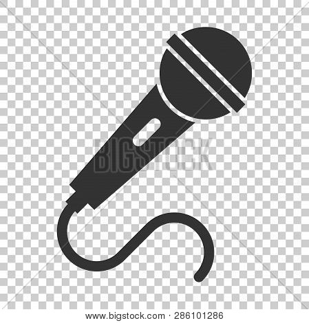 Microphone Icon In Flat Style. Mic Broadcast Vector Illustration On Isolated Background. Microphone