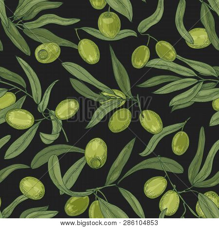 Botanical Seamless Pattern With Olive Tree Branches, Leaves, Green Fresh Fruits Or Drupes On Black B