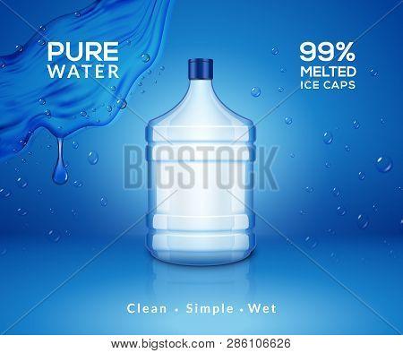 Water Bottle Mineral Background. Plastic Water Bottle Advertising Drink Cooler, Splash Clear Water P