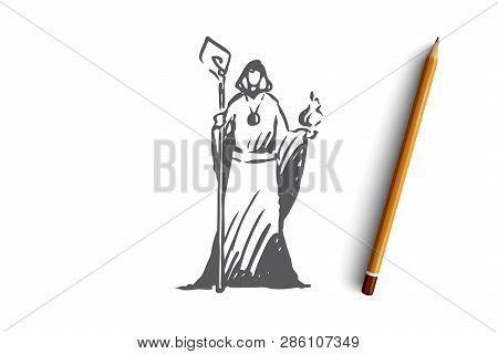 Magician, Wizard, Magician, Healer, Psychic Concept. Hand Drawn Wizard In A Fantasy Dress Concept Sk