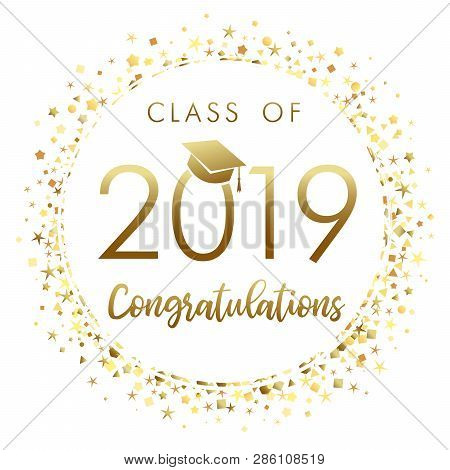 Class Of 2019 Graduation Banner With Gold Glitter Confetti. 2019 Class Of In Academic Cap With Golde