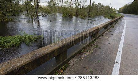 Bridge Near Fayetteville North Carolina With Hurricane Florence Water Rising