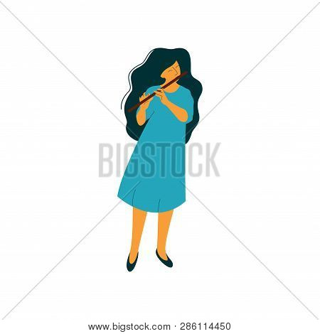 Young Woman Playing Flute, Female Musician Flutist With Classical Musical Instrument Vector Illustra