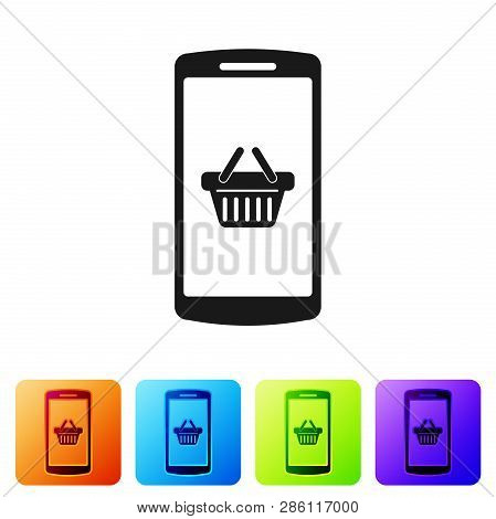 Black Shopping Basket On Screen Smartphone Icon Isolated On White Background. Concept E-commerce, E-