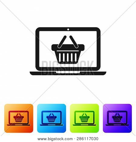 Black Shopping Basket On Screen Laptop Icon Isolated On White Background. Concept E-commerce, E-busi