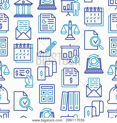 Financial Report Seamless Pattern With Thin Line Icons: Bank, Financial Analytics, Calculate, Signat