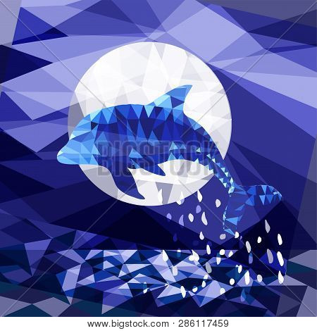 Lowpoly Dolphin Leaping In The Moonlit Sky Poster