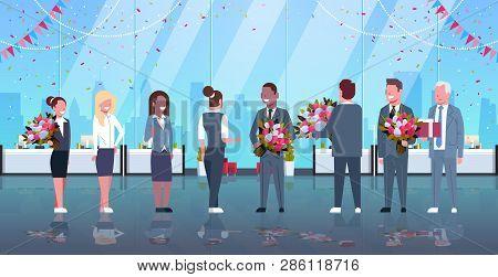 Businessmen Congratulating Businesswomen Happy 8 March Womens Day Concept Mix Race Men Giving Flower