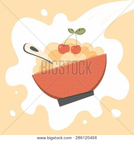 Cereal, Porridge Vector. Porridge, Cereal Bowl Retro Vector Illustration For Menu, Package, Ad, Prin