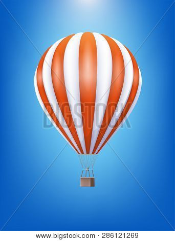 Hot Air Balloon With Red And White Pattern Floating In The Clear Blue Sky. Vector Realistic 3d Illus