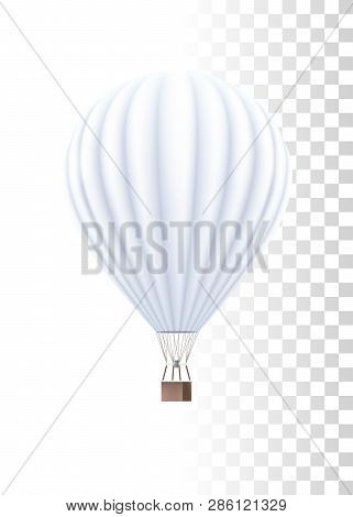 Hot Air Balloon White Template On The Transparent Background. Vector Realistic 3d Illustration