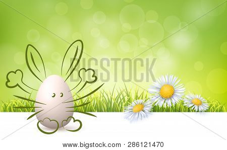 Easter Egg With Drawn Bunny, Green Fresh Grass And Spring Flowers. Realistic Vector Background