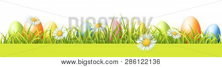 Colorful Easter Eggs, Green Fresh Grass And Spring Flowers. Vector Seamless Border