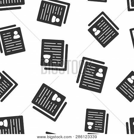 Resume Icon Seamless Pattern Background. Contract Document Vector Illustration. Resume Symbol Patter