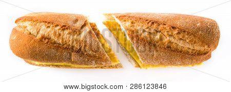 Bocadillo de tortilla espanola. Spanish potato omelette sandwich isolated on white background.Typical spanish food. Panoramic view poster