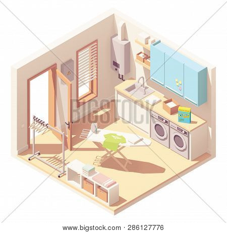 Vector Isometric Laundry Room Or Utility Room Interior Cross-section With Washing Machine, Clothes D