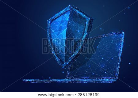 Knight Shield On A Laptop Background. Abstract Low Poly Wireframe Illustration. Polygonal Isolated P