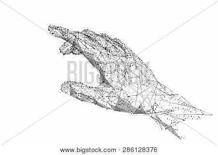 Human Arm Or Hand Or Palm Is Touching Something. Low Poly Black On White. Polygonal Abstract Illustr