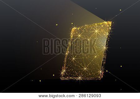 Tablet Computer. Low-poly Gold Wireframe. Technology And Devices Concept. Abstract Vector Computeriz