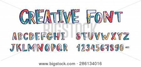 Creative Latin Font Or English Alphabet Hand Drawn On White Background. Textured Letters Arranged In