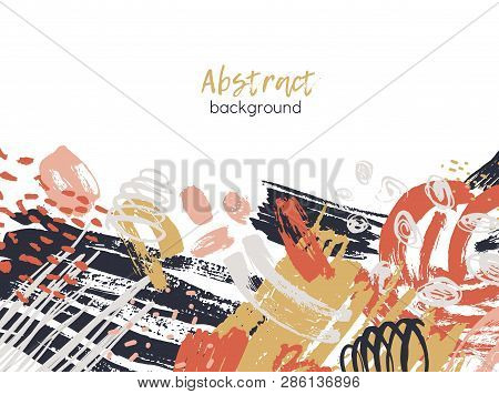 poster of Abstract background decorated by colorful chaotic paint traces, rough brushstrokes, scribble, daub, stains. Modern artistic backdrop. Vibrant decorative vector illustration in contemporary art style.