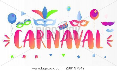 Brazil Carnival Banner. Adwertisement For Popular Event - Brasil Carnaval - Text And Masquerad Icons