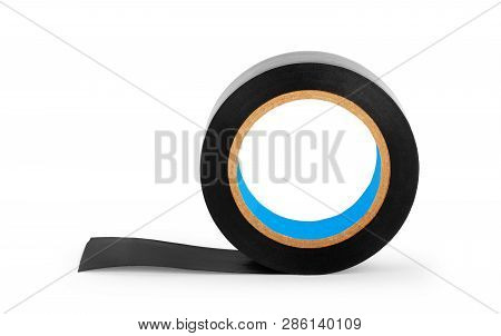 Black Vinyl Insulating Electric Tape On The White Background