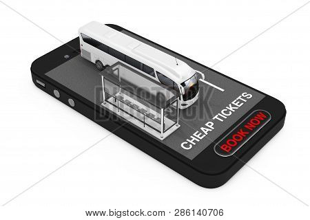 Big White Coach Tour Bus With Bus Station Over Mobile Phone With Cheap Tickets Sign And Book Now But