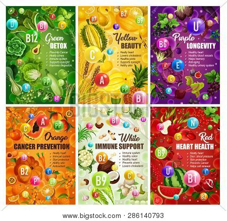 Color Diet Healthy Food And Vitamins In Fruits And Vegetables. Vector Organic Natural Nutrition Sala