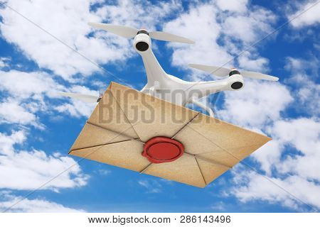 Air Drone Delivering Old Letter Envelope With Red Wax Seal On A Blue Sky Background. 3d Rendering