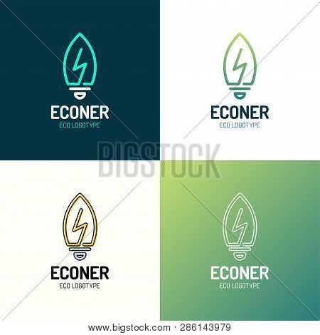 Eco Leaves Bulb Power Energy Logo Icon Design Template Elements