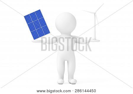 Blue Solar Cell Pattern Panel With Wind Turbine Windmill Balancing In Person Character Hands On A Wh