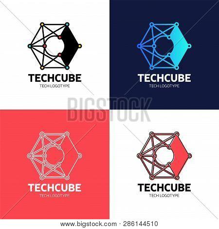 Letter C Blockchain Logo Template. Technology Vector Design. Cryptocurrency Hexagon Illustration