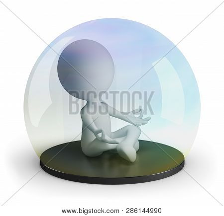 3d Man Meditates Under A Glass Dome. 3d Image. White Background.